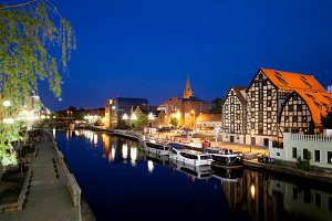City of Bydgoszcz at Night in Poland