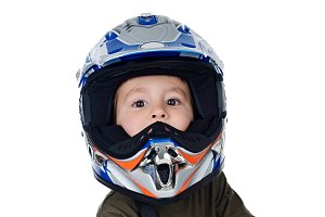 Child with motorcycle helmet