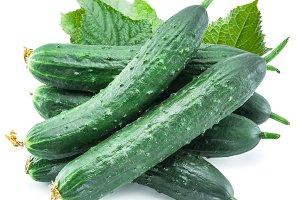 Cucumbers with leaves