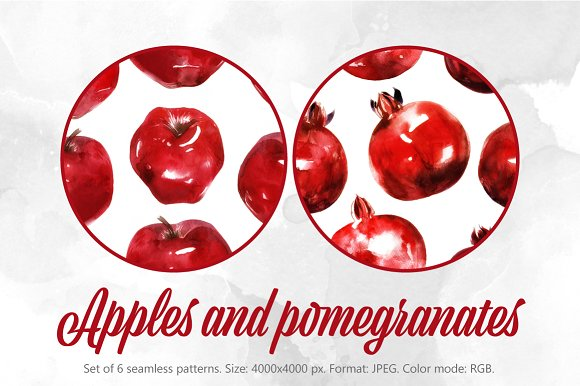 SALE! Apples & pomegranates patterns