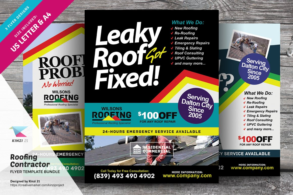 Roofing Contractor Flyer Bundle Flyer Templates