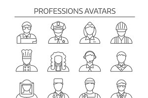 Professions Avatars Line Icon Set