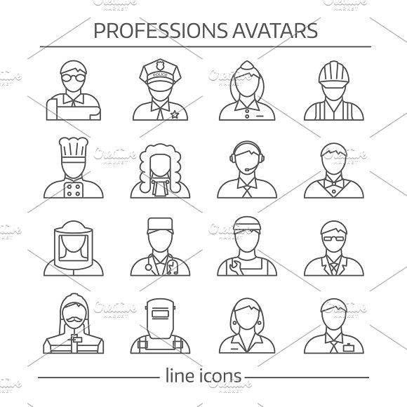 Professions Avatars Line Icon Set