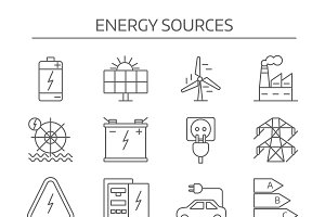 Energy Sources Line Icon Set