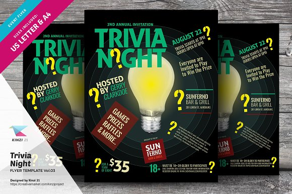 trivia night flyer template vol 03 flyer templates creative market