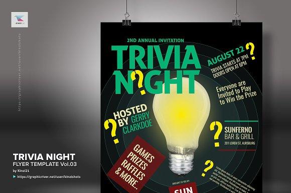trivia night flyer template vol 03 flyer templates creative market