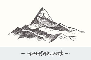 Two illustrations of mountains peaks