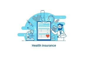 Health insurance concept banner. Vector illustration flat design style.