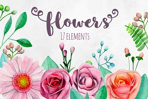 Watercolor garden flowers clip art