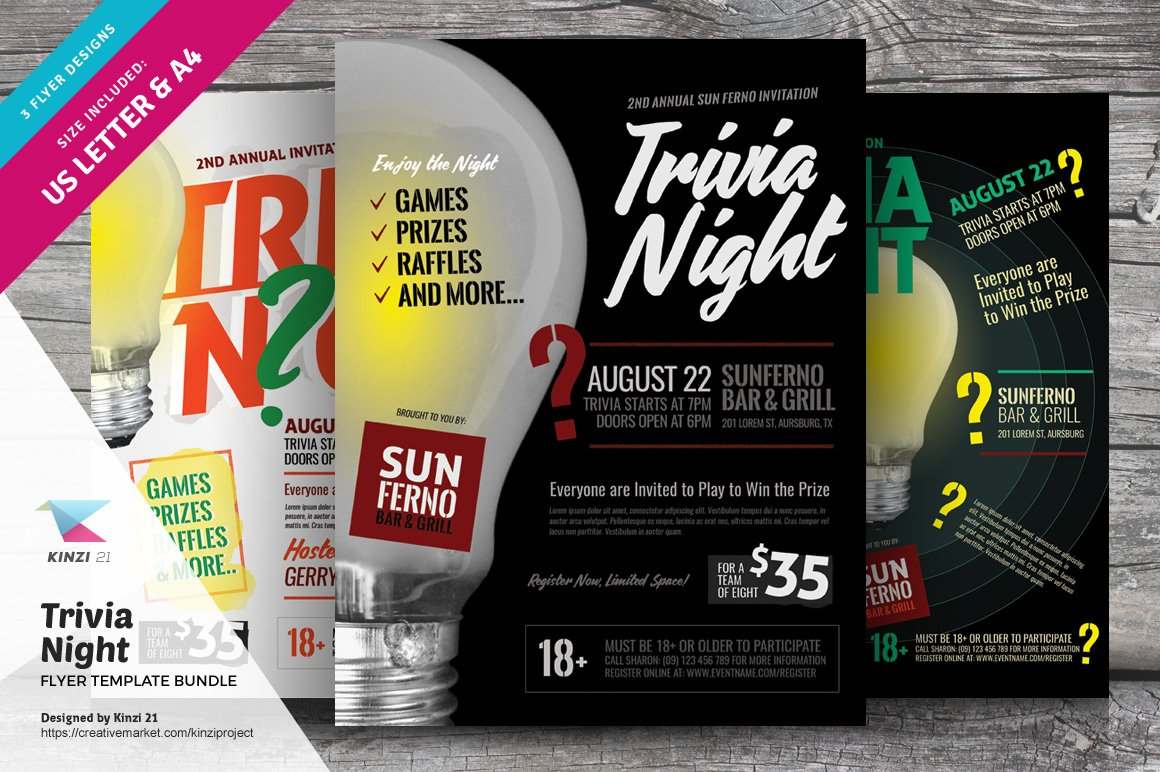 Trivia Night Flyer Template Bundle
