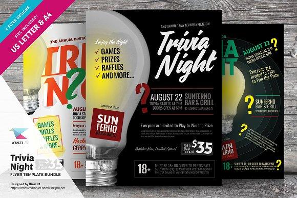 trivia night flyer template bundle flyer templates creative market