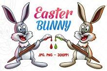 Easter Bunny Holding Paintbrush