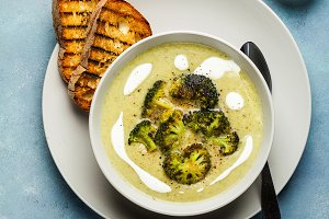 broccoli cheese soup and fresh grill