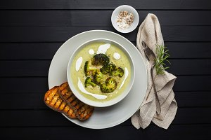 cream of broccoli soup and fresh gri