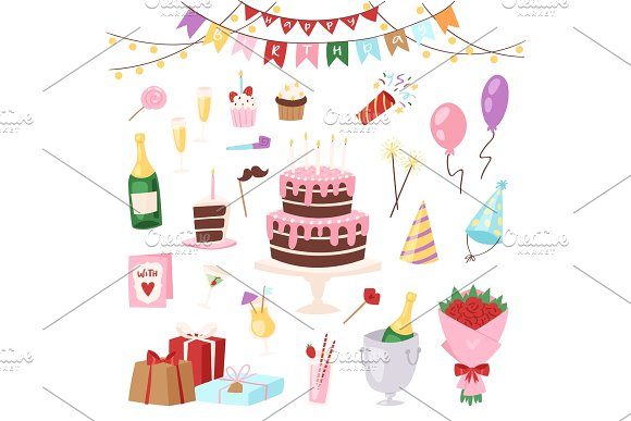 Birthday kids party vector cartoon childs happy birth cake or cupcake celebration with gifts and happy birthday balloons for children on anniversary holiday set illustration isolated on background