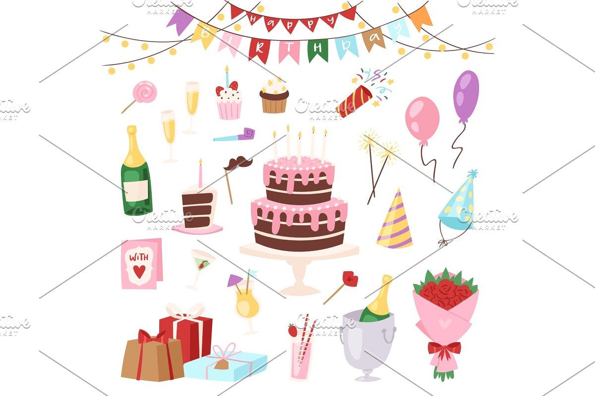 Birthday Kids Party Vector Cartoon Childs Happy Birth Cake Or