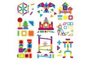 Kids building blocks toy vector baby colorful bricks to build or construct cute color construction in childroom illustration set of children blocks games isolated on white background