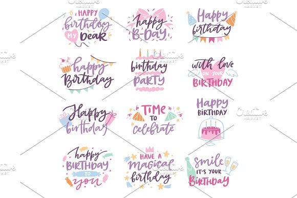 Happy birthday vector quote anniversary text sign kids birth lettering type with calligraphy letters or textual font for anniversary greeting card to typography illustration isolated on white
