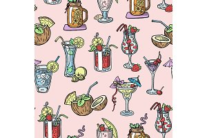 Cocktail vector alcohol beverage drinking alcoholic tequila martini drink cocktail in glass with pina colada mojito and cosmopolitan or drinkable bellinis isolated seamless pattern background