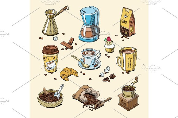 Coffee set coffeebeans and coffeecup vector drink hot espresso or cappuccino in coffeeshop and mug with caffeine in bar illustration isolated on background