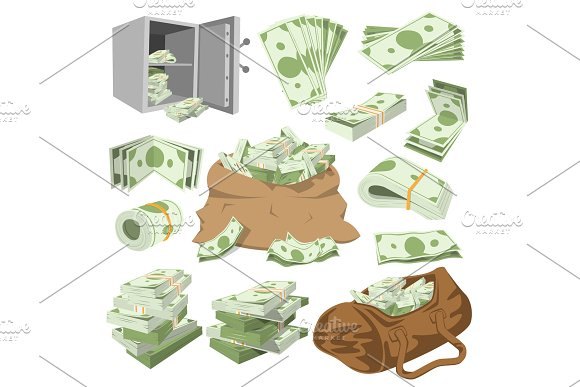 Money vector stack of dollar or currency cash monetary in bank moneysaving and financial business and finance banking illustration isolated on white background