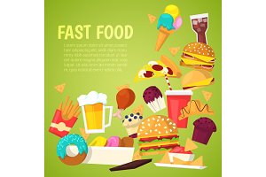 Fast food vector nutrition american hamburger or cheeseburger unhealthy eating concept junk fast-food snacks burger or sandwich and soda drink illustration background