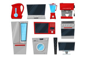 Household appliances electronic vector kitchen homeappliance for house set refrigerator or washing machine in appliancestore illustration isolated on white background