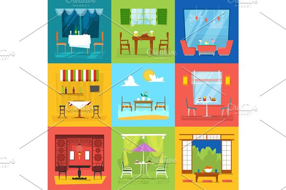 Restaurant interior vector cafe decor dining furniture table and chair for romantic lunch dinner in cafeteria club bar or pub set illustration isolated on background