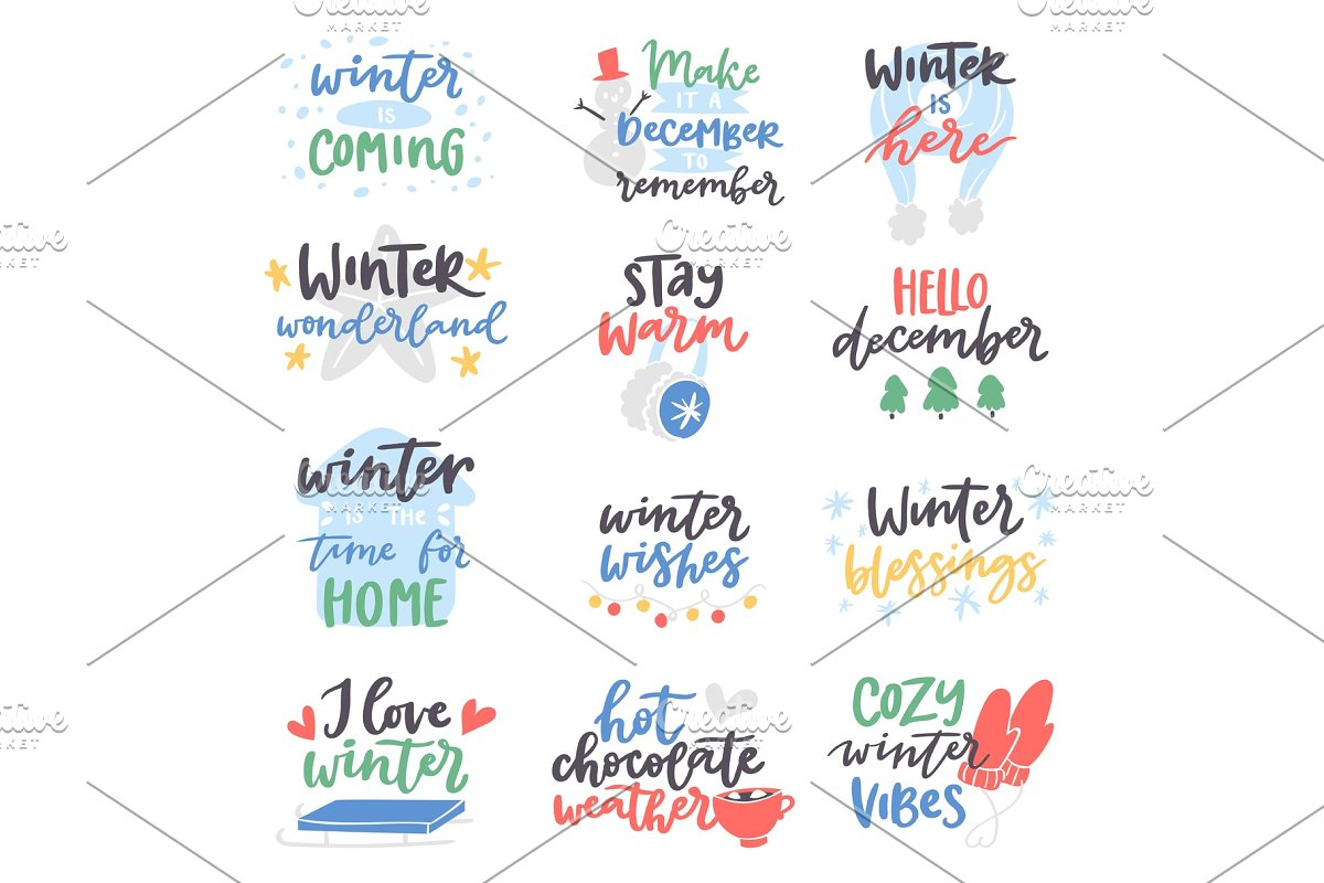 Winter Hello logo vector badge text letters motivation welcome wintertime phrases and quotes