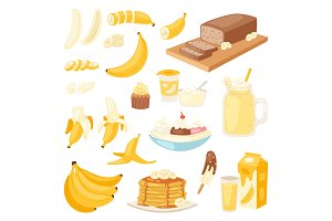 Banana set vector bananas products bread pancake or banana split with yellow cocktail and fruit in chocolate illustration bananapeel or skin isolated on white background
