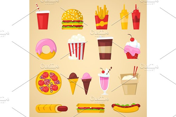 Fast food vector nutrition american hamburger or cheeseburger unhealthy eating concept junk fast-food snacks burger or sandwich and soda drink illustration isolated on background