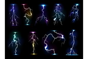 Lightning flash thunder vector thunderstorm with flashing light and electricity blast storm or thunderbolt illustration isolated on black background