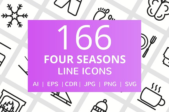 166 Four Seasons Line Icons