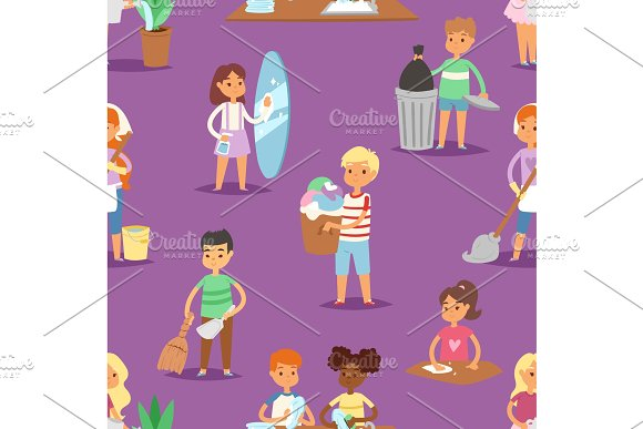 Kids vector cleaning rooms and helping their mums housework cartoon characters clean up illustration colorful set seamless pattern background