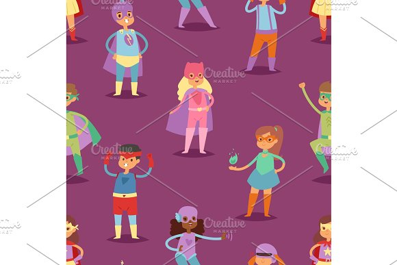 Superhero kids vector super hero child or kid in mask cartoon character of girl or boy in costume in childhood playing heroic game on carnival illustration seamless pattern background