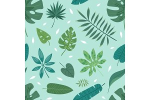 Tropical vector leaves summer green exotic jungle palm leaf tropic nature plant botanical hawaii flora illustration seamless pattern background