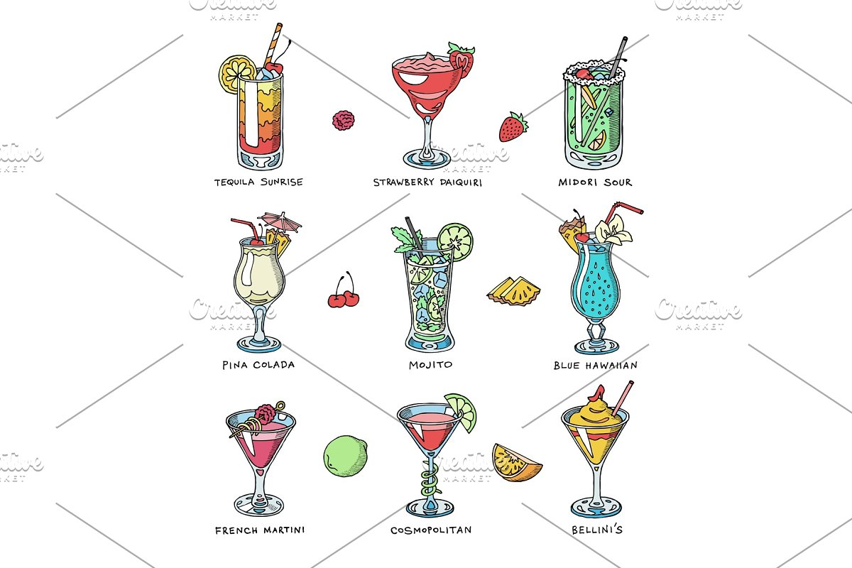 Cocktail vector alcohol beverage drinking alcoholic tequila martini drink cocktail in glass with pina colada mojito and cosmopolitan or drinkable bellinis isolated on white background illustration
