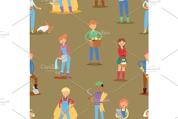 Farmer vector people workers character agriculture person profession farming life illustration woman and man work hard with tools seamless pattern background