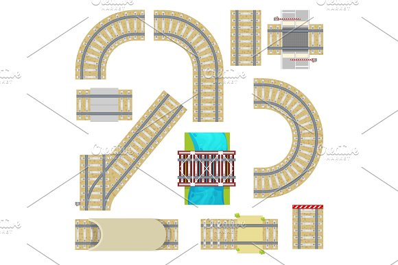 Railway vector railroad tracks top view curvy road straight rail or way with railway bridge tunnel and railing set collection illustration isolated on white background