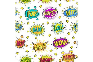 Pop art comic bubbles vector cartoon popart balloon bubbling colorful speech cloud asrtistic comics shapes isolated on white background illustration seamless pattern background
