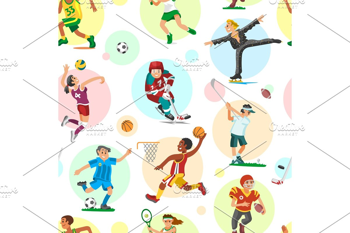 Sport people woman and man flat fitness activities workout athletic sportsmen characters vector illustration seamless pattern background
