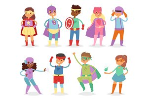 Superhero kids vector super hero child or kid in mask cartoon character of girl or boy in costume in childhood playing heroic game on carnival illustration isolated on white background