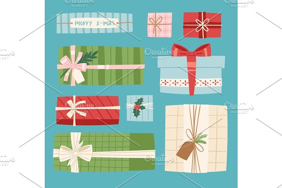 Gift box vector present packs Christmas or Birthday flat illustration celebration giftbox bow object isolated on background in Objects