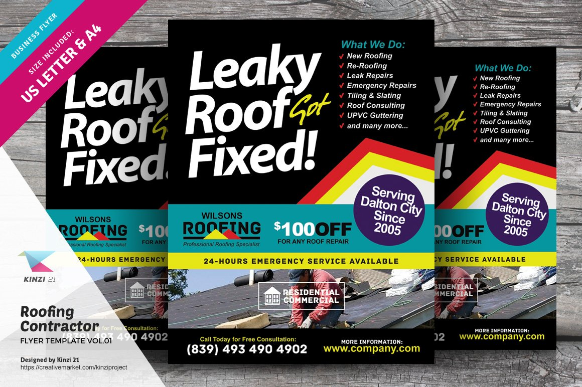 Roofing Contractor Flyer Vol 01 Flyer Templates