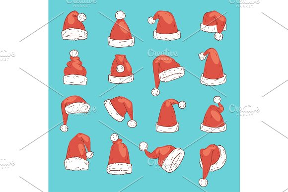 Christmas Santa Claus red hat vector noel isolated illustration New Year Christians Xmas party design decoration hats