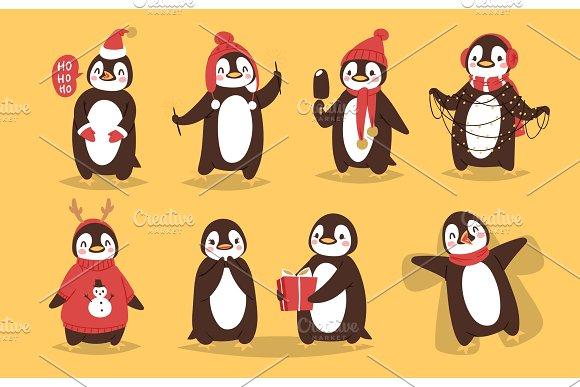 Christmas penguin vector character cartoon cute bird celebrate Xmas playfull happy penguin face smile illustration in santa Red Hat