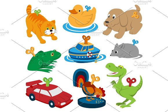 Kids vector toys clockwork key mechanism mechanic cartoon animals in toyshop for child clock work car and boat in playroom illustration isolated on white background