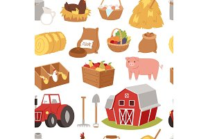 Farm vector tools and symbols house, traktor cartoon farming village symbols animal and vegetables agriculture farmland illustration seamless pattern background