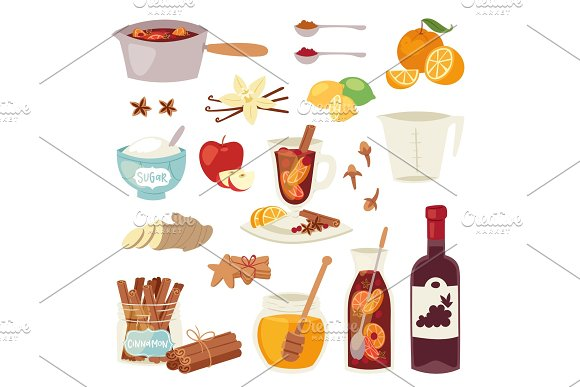 Mulled wine vector Christmas winey beverage punch drink hot winey alcohol mulledwine cocktail with spices anise, citrus fruit in winter anise beverage holiday alcohol winebowl glass illustration on white background