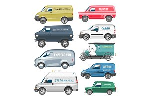 Van car vector delivery cargo auto vehicle family minibus truck and automobile minivan isolated van citycar on white background illustration